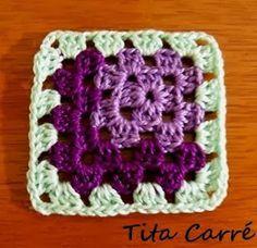 Square em 3 D em crochet