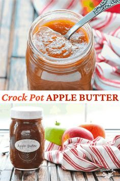 It wouldn't be fall without a few batches of this easy Crockpot Apple Butter recipe! Thanks to the slow cooker, the sweet spread fills your house with the cozy aroma of simmering apples, cinnamon, and cloves -- with very little effort on your part! Slow Cooker Apples, Crock Pot Slow Cooker, Slow Cooker Recipes, Crockpot Recipes, Canning Recipes, Yummy Recipes, Apple Recipes, Fall Recipes, Butter Recipe