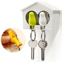 """Sparrow Key Rings and House Set"". Available in white, pink, yellow, red, green, orange, black. They go home to the bird house (single or double, white or brown). Just for fun or when you're in danger, they are a whistle as well."
