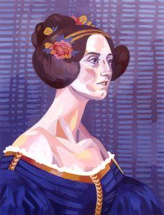 Ada Lovelace  gouache, 2014 / / Emily Dahl Illustration