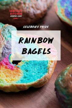 Learn how to make fun and colourful bagels with this simple recipe. Rainbow Bagel Recipe, Bagels, Cooking Classes, Vsco, Easy Meals, Breakfast, Simple, Fun, Recipes