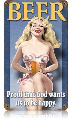 Beer Pin Up Vintage Metal Sign
