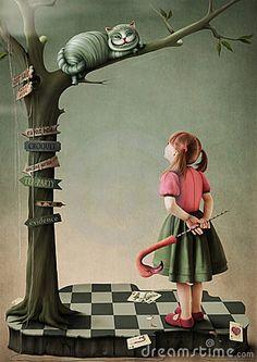 Illustration to the fairy tale Alice in Wonderland by Annnmei, via Dreamstime
