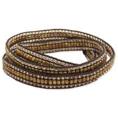 Clear, Gold Metal & Cord Wrap Bracelet
