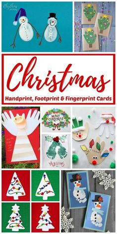 Christmas Handprint, Footprint, and Fingerprint art and crafts! Make some keepsake Christmas cards that your family will treasure with these handmade (and foot-made--lol!) Christmas card craft and gift ideas. Homemade holiday cards are perfect for parents and grandparents! |#ChristmasCard #DIYChristmasCard #ChristmasCraft