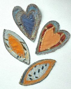 Upcycled jeans boho patches jeans patches heart patches Fabric Art, Fabric Design, Boro Stitching, Applique Cushions, Japanese Quilts, Shabby Fabrics, Sewing Appliques, Recycled Fabric, Fabric Jewelry