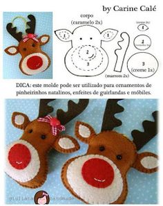 10 nouveaux ornements de Noël à coudre Christmas Projects, Felt Crafts, Holiday Crafts, Diy Crafts, Felt Christmas Decorations, Felt Christmas Ornaments, Reindeer Ornaments, Reindeer Face, Reindeer Figurines