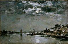 """""""Le port du Faou au clair de lune"""",  by  Eugène Boudin"""