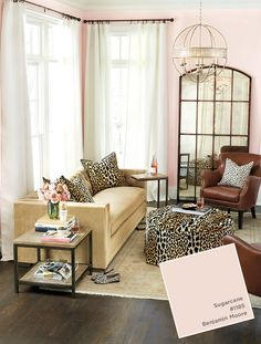 Benjamin Moore's Sugarcane Pink from Ballard Designs catalog