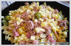 ENSALADA DE PASTA Pasta Salad, Cobb Salad, Hawaiian Pizza, Ethnic Recipes, Food, Cooking Recipes, Dishes, Ethnic Food, Crab Pasta Salad