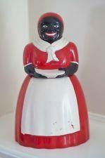 Vintage Plastic F & F  Mold Die Works Aunt Jemima Cookie Jar - Dark Brown Face