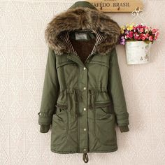 This warm long coat with hooded hat and faux fur collar on hat is so fashion and shinning. Drawstring on waist can adjust the size of it. It's with five sizes: M, L, XL, XXL, XXXL will with one suit f
