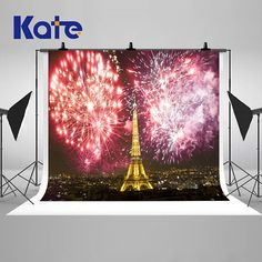 Eiffel Tower Paris Fireworks Photography Backdrops Night