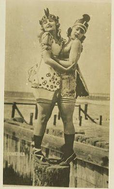 On left is Harriet Hammond ~ mack sennett bathing beauties | Mack Sennett Bathing Beauties, ca. 1910s-20s