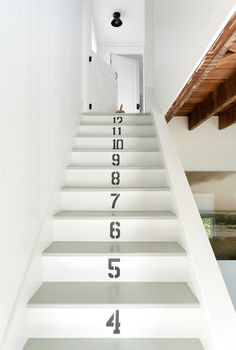 Jenny Wolf - Interior Designer - New York - Beach - Coastal - Contemporary - Eclectic - Swedish - Staircase - Numbers - White - Black - Neutrals - Paneled Ceiling