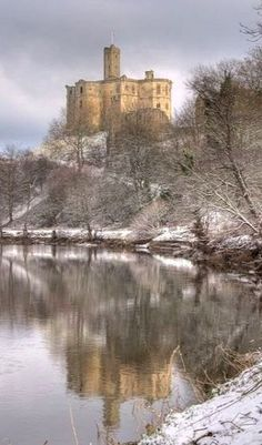 The Warkworth Castle ruins in Northumberland, England