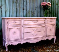 Custom Painted Shabby Cottage Pink French Dresser. $675.00, via Etsy.