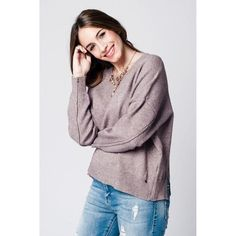 Beige soft knit jersey with dropped shoulders