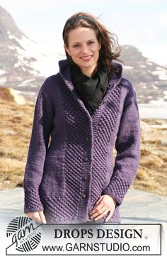 Knitted DROPS jacket with hood and berry pattern in Alaska. Size S-XXXL. Free knitting pattern by DROPS Design. Crochet Jacket, Crochet Cardigan, Knit Jacket, Hooded Jacket, Knit Crochet, Hooded Cardigan, Wool Cardigan, Crochet Baby, Hood Pattern