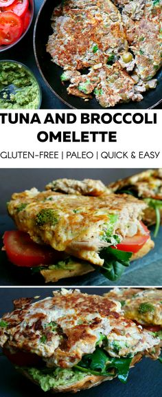 High protein tuna and broccoli omelette. Perfect as breakfast, lunch or dinner - whenever you don't have time to cook, this omelette just takes 10 minutes. To make it gluten-free and paleo: eat without the bread - is just as delicious, maybe even a little