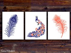 navy blue and coral bedrooms | print Peacock art Navy blue & Coral Feather wall decor for my bedroom