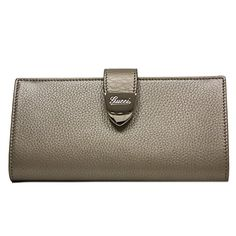 ff8c3fbb572 Gucci Signoria Buckle Beige Gold Metallic Leather Continental Wallet for  Women Continental Wallet