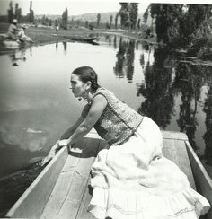 Frida Kahlo on a boat in Xochimilco, one of The Coolest Places in Mexico City, 1936, photo by Fritz Henle