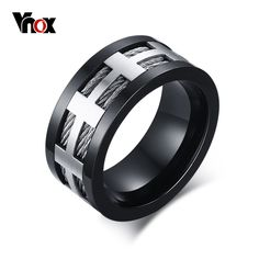 Punk Men Engagement Ring Trendy Black Cross Charm Wedding Jewelry Stainless Steel Wire Spike Isn`t it awesome? #Jewelry #shop #beauty #Woman's fashion #Products