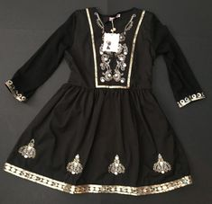 Mo Huan Yi Chu Dress S Mini Black Sparkly Sequins A-Line Retro Mod Boho NWT #MoHuanYiChu #MiniALineDress #PartyCocktail