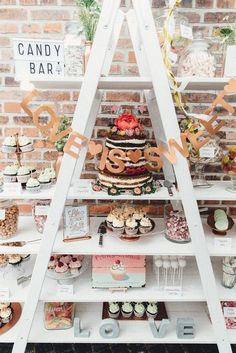 It Doesn't Get Sweeter Than The Dessert Display at This DIY German Wedding is part of dessert Bars Display - This super sweet DIY German wedding features a mindblowing dessert display, pretty springtime inspired florals, and a boho ethereal bridal look Diy Wedding Bar, Ladder Wedding, Dessert Bar Wedding, Wedding Desserts, Table Wedding, German Wedding, Bar A Bonbon, Geometric Wedding, Reception Decorations