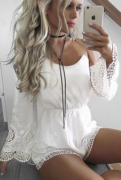 #summer #hildeosland #outfits | Cute White Playsuit