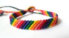 Simple Rainbow Friendship Bracelet - Macrame - Tie On with Loop - Colorful. $6.50, via Etsy.