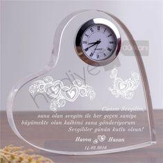 Sevgiliye Hediye Mesajlı Akrilik Saat