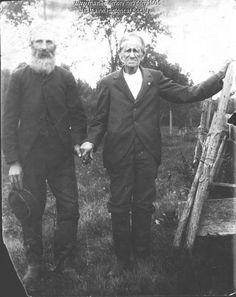 "Rev. Elijah Kellogg (1813-1901) author of ""Lion Ben of Elm Island,"" posing with Capt. Elijah Green. Item # 1505 on Maine Memory Network"