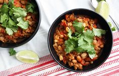 This Turkey Chili with White Beans is lightened-up comfort food at its best. Make this and warm right up on a cold night! #chili #comfortfood