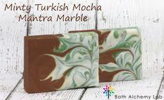 Minty Turkish Mocha Mantra Marble Cold Process Tutorial by Erica with Bath Alchemy Lab