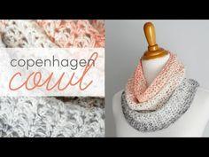 How to Crochet the Copenhagen Cowl Crochet Scarf Easy, Crochet Cowl Free Pattern, Crochet Coat, Crochet Scarves, Crochet Shawl, Crochet Hooks, Free Crochet, Crochet Patterns, Crochet Videos