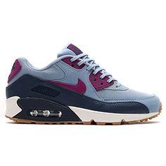 reputable site b80d7 501bd Nike Womens Air Max 90 Essential Blue GreyBright Grape Running Shoe 85  Women US