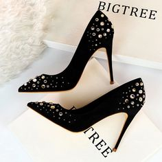 Chic / Beautiful Black Suede Prom Pumps in 2019 Rhinestone 10 cm Stiletto heel Poi. - Chic / Beautiful Black Suede Prom Pumps in 2019 Rhinestone 10 cm Stiletto Heels Pointed Toe Pumps heels - Lace Up Heels, Pumps Heels, Stiletto Heels, Prom Heels, Wedding Heels, Giuseppe Zanotti Heels, Black High Heels, Fashion Heels, Pointed Toe Pumps