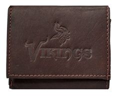 Minnesota Vikings NFL Embossed Logo Dark Brown Leather Trifold Wallet >>> Click image to review more details.