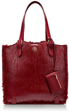 Tory Burch Red Patent Shearling Channing Tall Tote