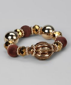 Take a look at this Gold & Brown Roman Bobble Stretch Bracelet by Felicia LTD on #zulily today!