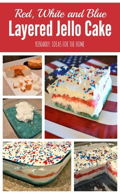 Red, White and Blue Layered Jello Cake - a great dessert idea if you need a recipe for a 4th of July picnic, party or potluck.