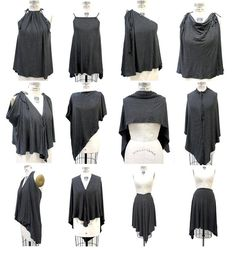 Unique Black Gray Convertible Clothing,Gray Black Striped Jersey Top, Womens Infinity Top, Multi-Style Convertible Jersey Blouse and Skirt, Halter Convertible Clothing, Convertible Dress, Diy Fashion, Fashion Outfits, Infinity Dress, Striped Jersey, Blouse And Skirt, Diy Clothing, Unique Clothing