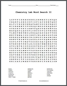 Chemistry Lab Terms Word Search Puzzle II - Free printable word search puzzle featuring common terms used in a chemistry lab, including: base, bromine, burette, chart, clamp, cylinder, faucet, hood, iodine, liquid, manual, partner, pipette, salts, sink, sodium, solid, stand, test tube, water.