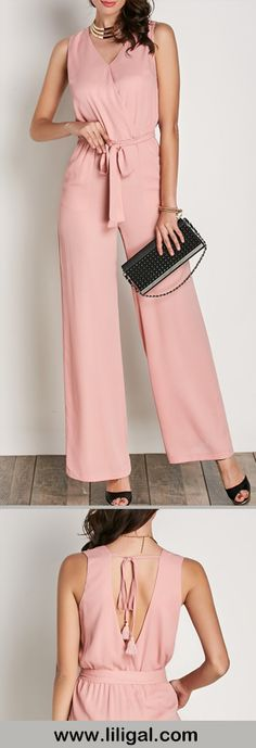pink belted sleeveless jumpsuit           #liligal #jumpsuits #womenswear #womensfashion Pink Fashion, Fashion Outfits, Womens Fashion, Fashion Fashion, Jumpsuit Pattern, Jacket Pattern, Fade Styles, Fashion Branding, Jumpsuits For Women