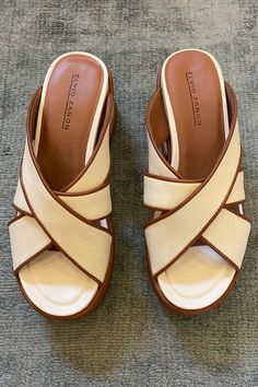 Wallace Rose imported Elvio Zannon 'Cuoio' bone leather with tan leather piping, strappy slide on a 40-70mm flatform sole. Tan Leather, Bones, Slip On, Sandals, Summer, Collection, Fashion, Moda, Shoes Sandals