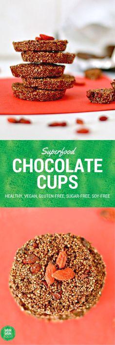 Superfood Chocolate Cups | WIN-WINFOOD.com #healthy #vegan #sugarfree #glutenfree