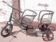 Tricycle with 2 seats rare and unique por HabitShmabit Antique Toys, Vintage Toys, Antique Bicycles, Retro Kids, Vintage Packaging, Old Bikes, Vintage Winter, Wagon Wheel, Pedal Cars