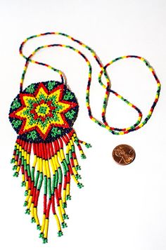 Mexican Huichol Peyote Flower Necklace  Native by MexicanThings, $19.99